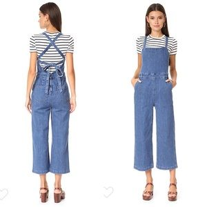 Madewell Denim Lace Up Back Jumpsuit Overalls
